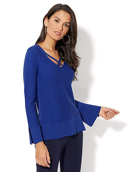 Criss-Cross Front Sweater - New York & Company