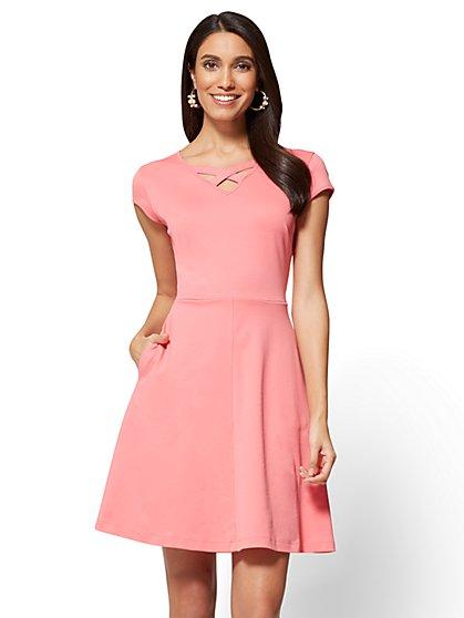 Crisscross V-Neck Fit & Flare Dress - New York & Company
