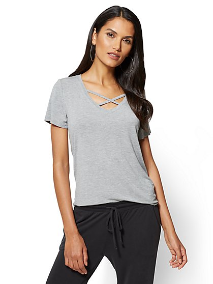 Crisscross V-Neck Tee - New York & Company