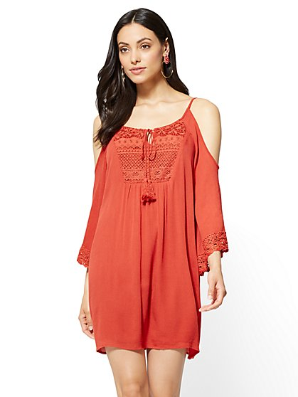 Crochet-Accent Cold-Shoulder Dress - New York & Company