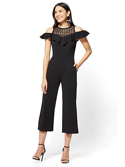 Crochet-Accent Cold-Shoulder Jumpsuit - Black - New York & Company