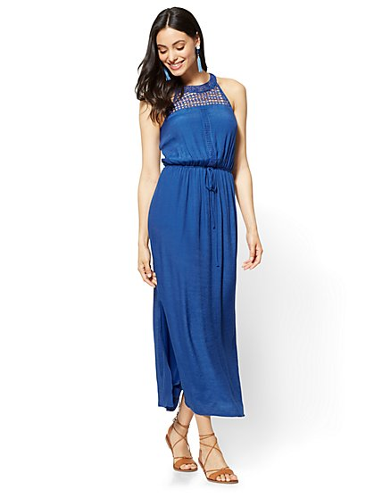 Crochet-Accent Halter Maxi Dress - New York & Company