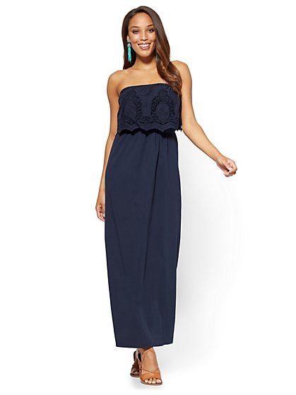 Crochet-Accent Strapless Maxi Dress - Petite - New York & Company