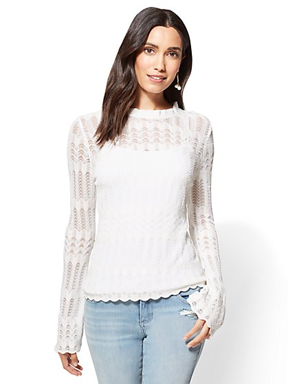 Crochet Bell-Sleeve Sweater  - New York & Company
