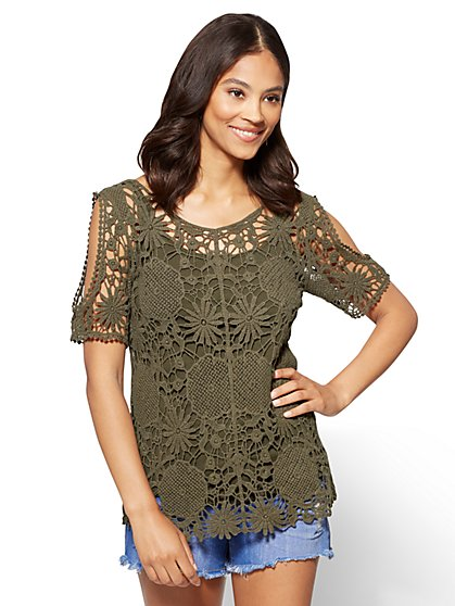Crochet Cold-Shoulder Top - New York & Company