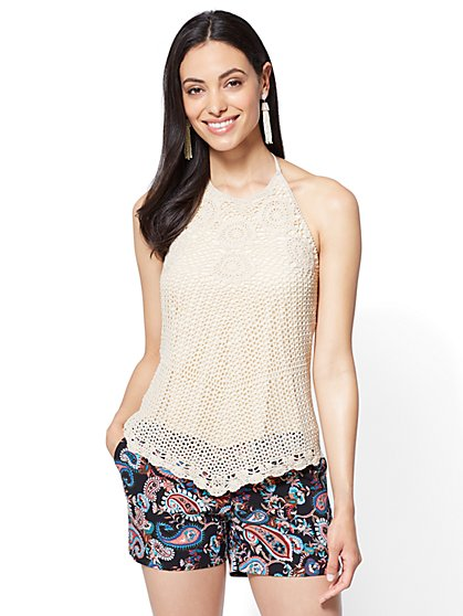 Crochet Halter Top - Ivory - New York & Company