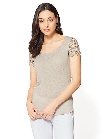 Crochet-Sleeve T-Shirt - New York & Company