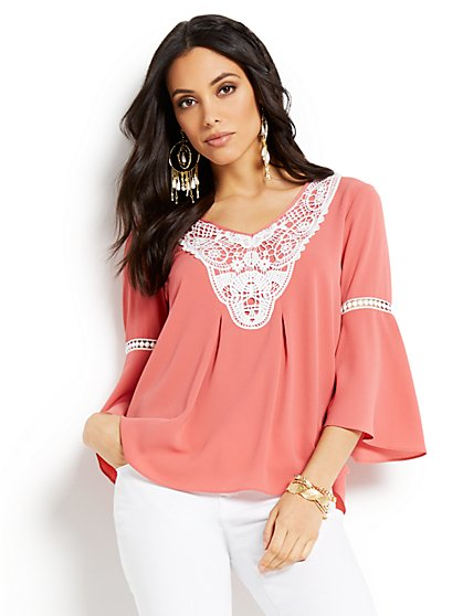Crochet-Trim Bell Sleeve Blouse - New York & Company