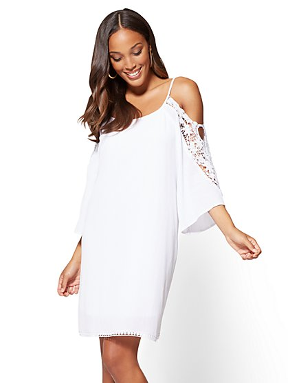 Crochet-Trim Cold-Shoulder Dress - New York & Company