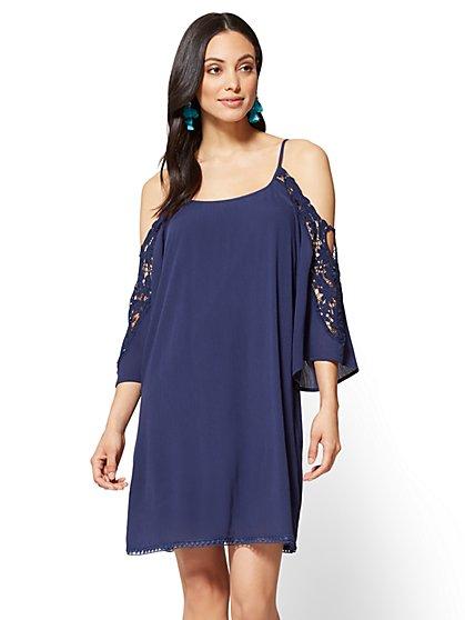 Crochet-Trim Cold-Shoulder Dress - New York & Company