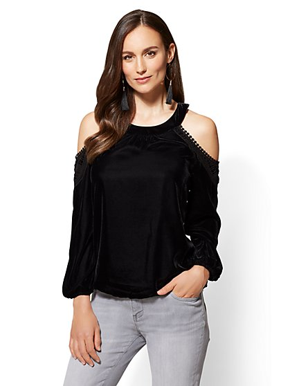 Crochet-Trim Cold-Shoulder Top - New York & Company