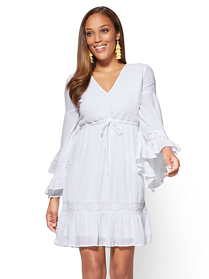 Crochet-Trim Flounce Sleeve Dress - New York & Company