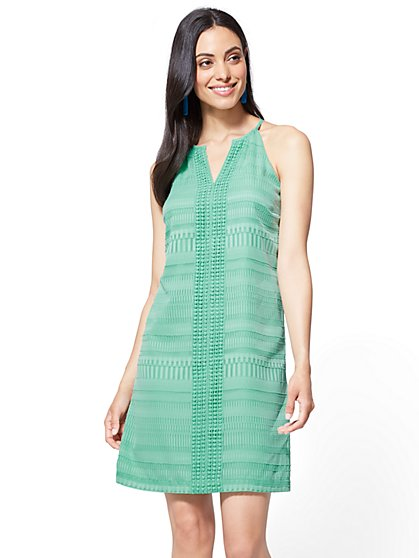 Crochet-Trim Halter Shift Dress - New York & Company