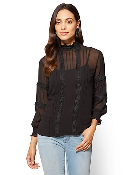 Crochet-Trim High-Neck Blouse  - New York & Company