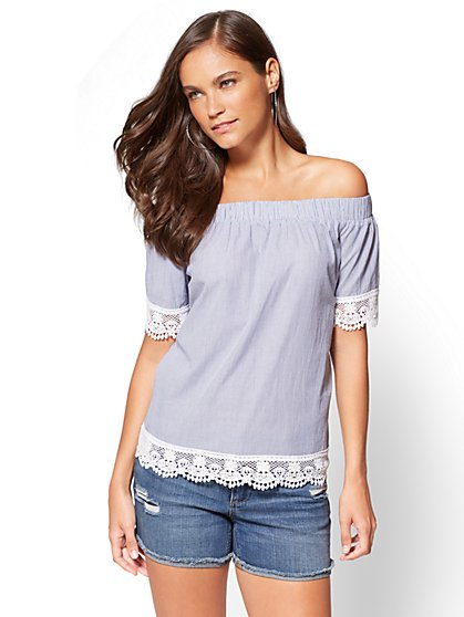 Crochet-Trim Off-The-Shoulder Blouse - Blue Stripe - New York & Company