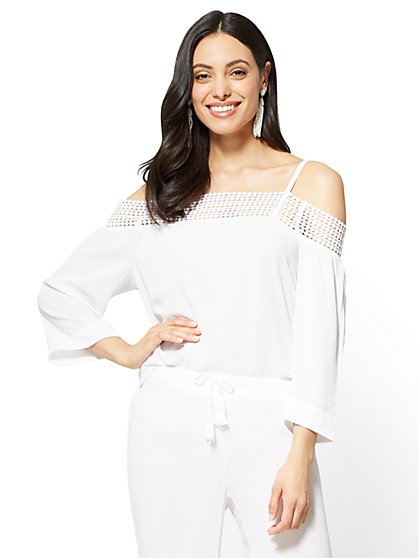 Crochet-Trim Off-The-Shoulder Blouse - New York & Company