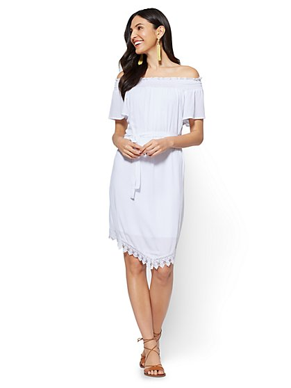 Crochet-Trim Off-The-Shoulder Dress - New York & Company
