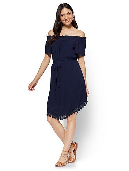 Crochet-Trim Off-The-Shoulder Dress - New York & Company