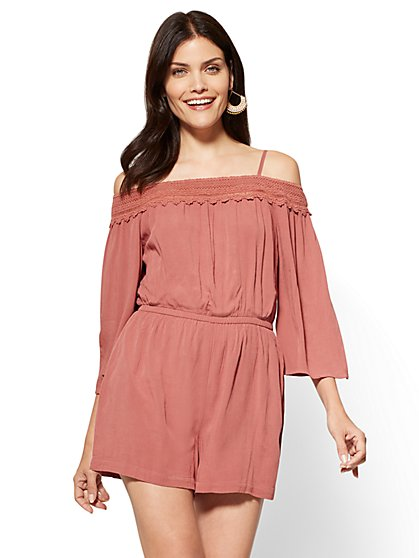 Crochet-Trim Off-The-Shoulder Romper - New York & Company
