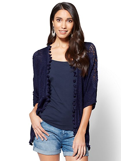 Crochet-Trim Open-Front Cardigan - New York & Company