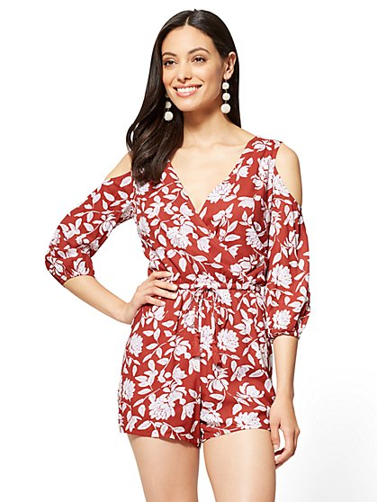 Crochet-Trim Romper - Floral - New York & Company