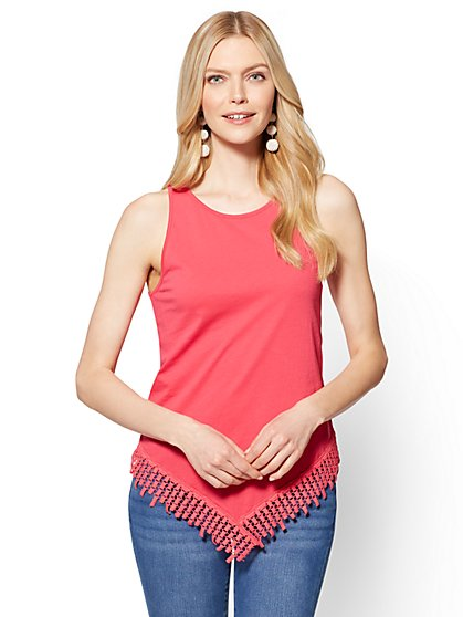 Crochet-Trim Scarf-Hem Tank Top - New York & Company