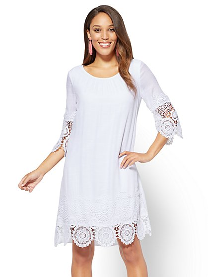 Crochet-Trim Shift Dress - New York & Company