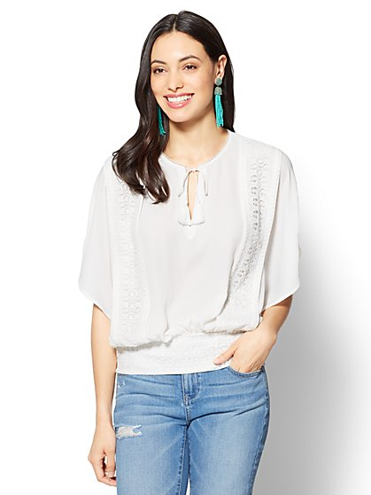 Crochet-Trim Tassel-Tie Blouse - New York & Company