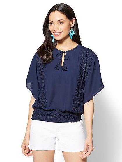Crochet-Trim Tassel-Tie Blouse - New York & Company