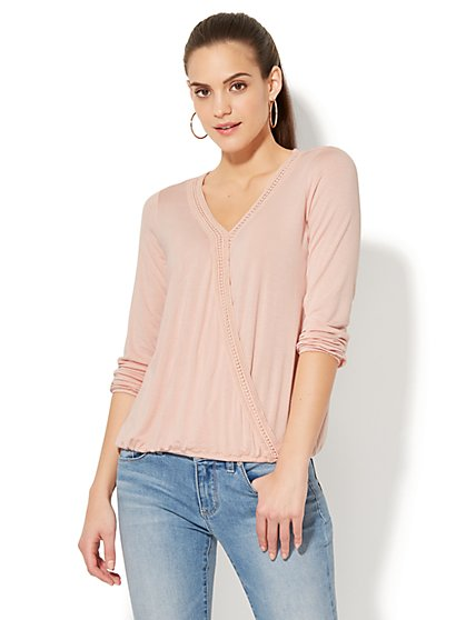 Crochet-Trim Wrap Top - New York & Company