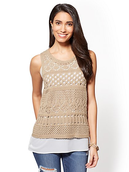 Crochet Twofer Tank Top - New York & Company