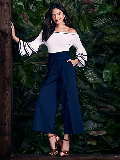Crop Paperbag-Waist Wide-Leg Pant - Navy - New York & Company