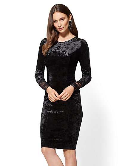 Crushed-Velvet Sheath Dress - New York & Company