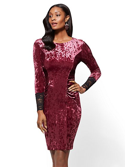 Crushed-Velvet Sheath Dress - New York & Company
