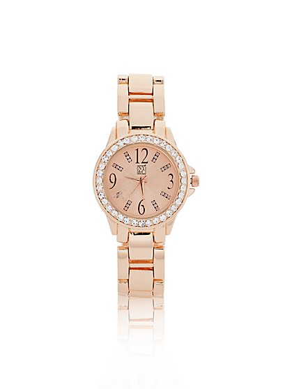 Crystal Embellished Round Face Watch - New York & Company