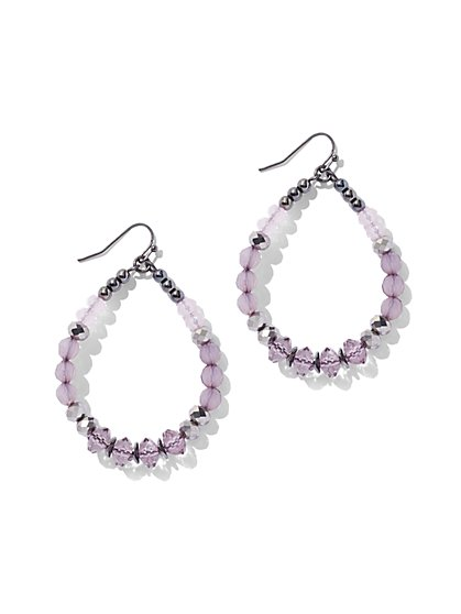Crystal Hoop Drop Earring - Purple - New York & Company