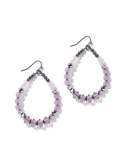 Crystal Hoop Drop Earring - Purple - New York & Company