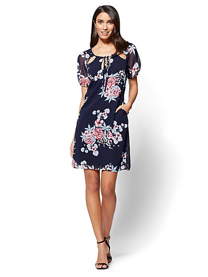 Cutout Chiffon Shift Dress - Floral - New York & Company