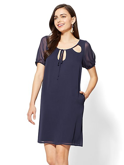 Cutout Chiffon Shift Dress - New York & Company