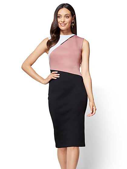 Cutout Colorblock Sheath Dress - New York & Company
