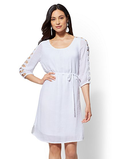 Cutout Crochet-Sleeve Shift Dress - New York & Company