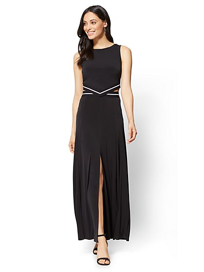 Cutout Maxi Dress - Black - New York & Company