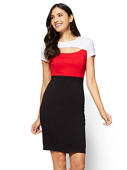 Cutout Sheath Dress - Colorblock - New York & Company