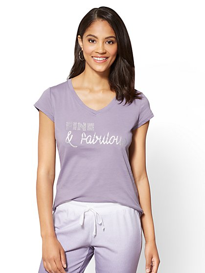 "Dazzling ""Fine & Fabulous"" Graphic Logo Tee - New York & Company"