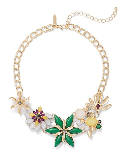 Dazzling Floral Statement Necklace  - New York & Company