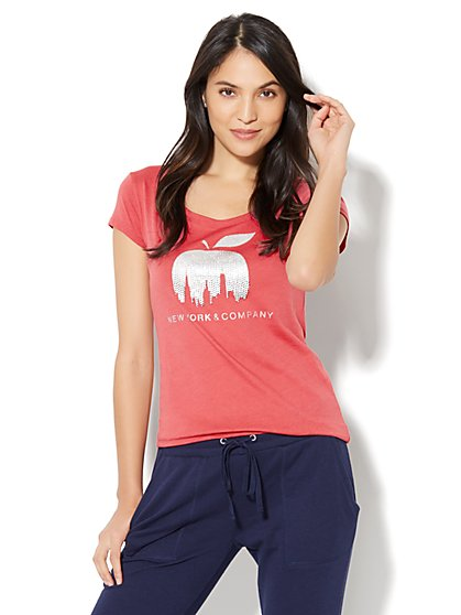Dazzling Skyline Apple Logo Tee  - New York & Company