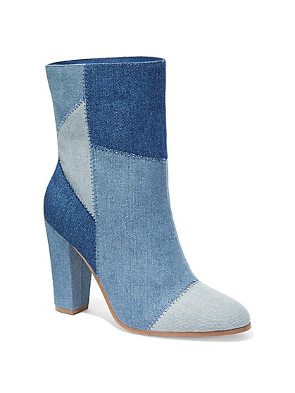 Denim Patchwork Ankle Boot  - New York & Company