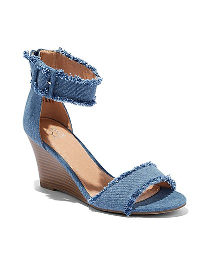 Denim Wedge-Heel Sandal  - New York & Company