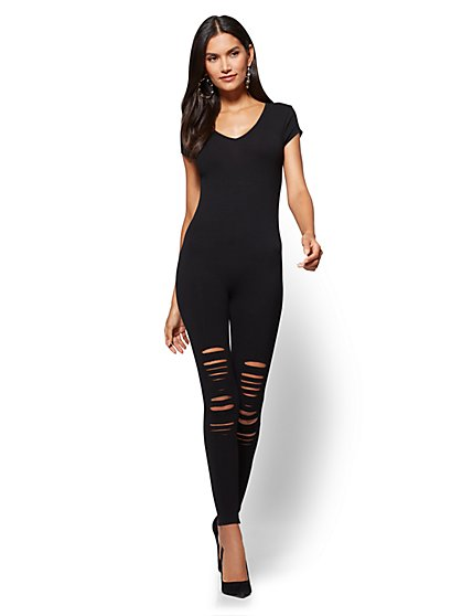Destroyed Catsuit - Black - New York & Company
