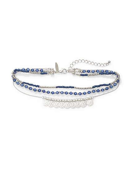 Disc-Accent Beaded Choker Necklace  - New York & Company